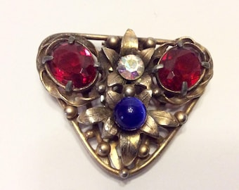 Vintage 1940s fur clip. Faceted rhinestones, faux sapphire free ship to US