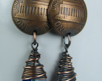 Copper Wire Wrapped Bermuda Blue Swarovski Crystals with Domed Pennies