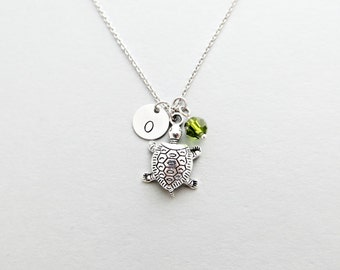 Turtle Initial Necklace Personalized Hand Stamped - with Silver Turtle Charm and Custom Bead