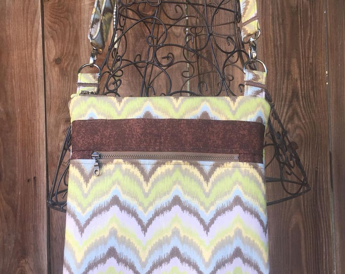 Cross Body Bag, Across The Body Bag, Brown and Green Cross Body Purse, Adjustable strap, long handle purse, Travel Purse, Zippered Purse