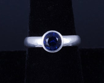 Lab Created Blue Sapphire 6mm Round Bezel Sterling Silver Ring