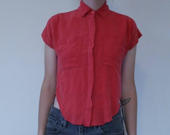 Vintage Red Short-sleeved Button-down