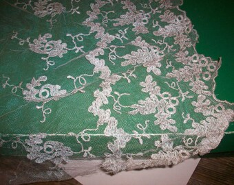 Metallic silver silk lace 1920s authentic antique