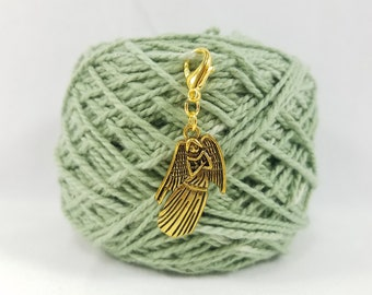 Gold Angel Lobster Clasp Stitch Marker, Progress Keeper, Zipper Pull, Stitch Keeper, Dangle Charm