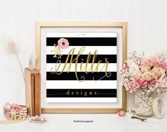 customized logo design -  black & white stripes logo  - calligraphy logo - gold logo - business card - freshmint paperie