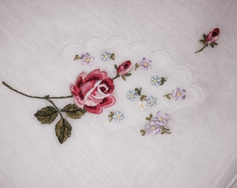 Vintage White Hanky with Embroidered Red Roses - Hankie Handkerchief