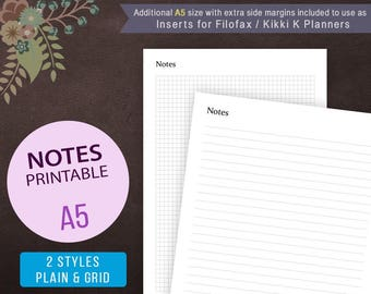 A5 Notes Page Template, Notes Page Printable, Notes Template, A5 Grid Notes, Filofax A5, Kikki K Note Pages, Planner Inserts, Notes Page