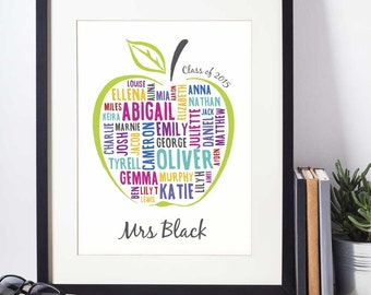 Apple for the Teacher Personalised Print | Teacher Gift | End of term gift | Giclée print with mount
