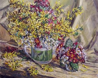 Yellow flower, oil painting, impressionism, still life, spring, bouquet, volumetric.  impression
