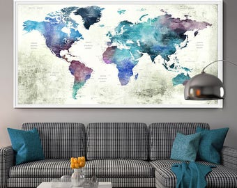 Large Travel poster wall art, Blue Watercolor World Map Push Pin Print, Travel World Map, Extra Large Wall Art, travel decor (L95)