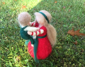 Mother and Child Waldorf Doll Needle Felted Doll set