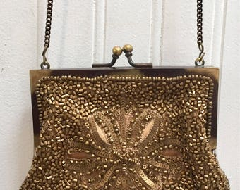Muted Gold Sequined Beaded Evening Purse /Glam Style /with Chain Strap / Cross Body Carry / Evening Purse