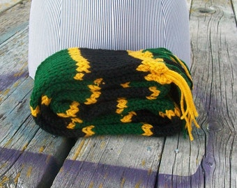 Knitted Green Black and Gold Striped Long Scarf Ready to Ship