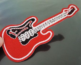 Guitar Patches - Iron on Patches or Sewing on Patch Red Guitar Patches Music Embroidered Patch Guitars Embellishment