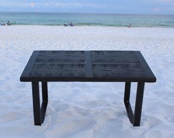 Reclaimed Wood Coffee Table, Metal Strips, Industrial Coffee Table, Urban Coffee  Table,