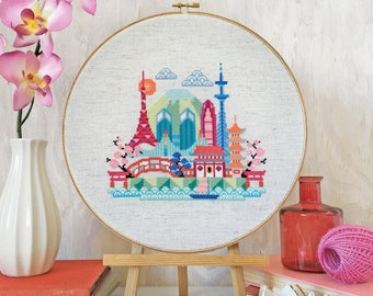Pretty Little Tokyo - printed version - Satsuma Street Modern Cross stitch pattern