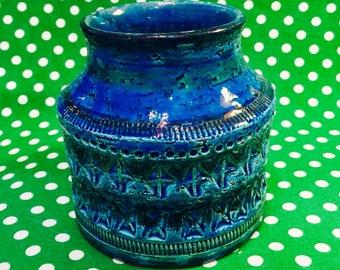 Bitossi Rimini Blue 730 Vase  - designed by Aldo Londi  - Rimini Blue Series collection of pottery  - made in Italy circa 1960s