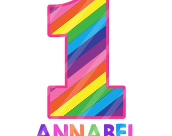 Rainbow Birthday Number Pink Digital Download Printable for iron-ons, heat transfer, Scrapbooking, Cards, Tags, DIY, YOU PRINT