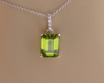 Emerald Cut Peridot / Pave Diamond Bail Pendant 18K Yellow and White Gold Necklace Chain Included