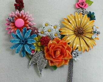 Floral Flower Necklace Vintage Enameled Flowers Statement Piece Assemblage Bib Spring Summer Handcrafted OOAK Wedding Bridal Jewelry