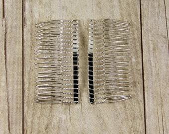 "Hair Accessories - hair comb - (2) 3"" Metal Veil Comb - Wedding Veil Comb - Hair Fascinators / DIY twisted wire metal comb silver tone"