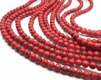 1Full Strand Red Turquoise Round Beads,6mm 8mm 10mm Howlite Turquoise Gemstone For Jewelry Making