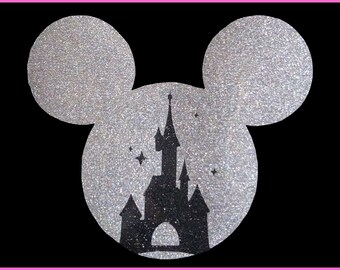 Disney Glitter Mickey Iron on with Castle T-Shirt Transfer Easy DIY Iron On Glitter Vinyl T-Shirt Glitter Transfer Sparkly Glitter Transfer