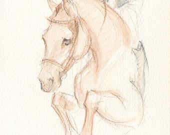 "Jumping Horse Art, Hunter Jumper, Original Watercolor by Anna Noelle Rockwell, ""Chestnut Show Hunter"""