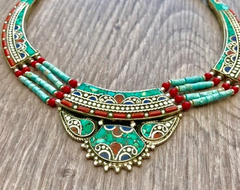 Turquoise lapis Statement necklace, turquoise jewellery,Tibetan necklace , turquoise jewellery, bohemian necklace, gypsy necklace, Tibetan