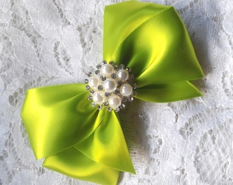 Lime Green Satin Hair Bow with Pearl and Rhinestone Center,  Lime Flower Girl Hair Bow, Hair Bow, Lime Pageant Bow