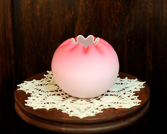 Vintage Art Glass Rose Bowl.. Pink Cased Satin Glass Circa 1940