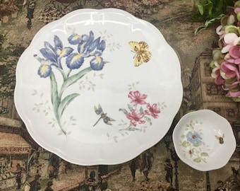 Lenox butterfly meadow dessert plate and sauce dish.