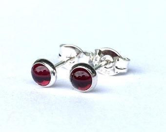 Tiny Garnet Stud Earrings 4mm .. Sterling Silver Garnet Stud Earrings .. Red Garnet Jewelry .. Handmade Earrings