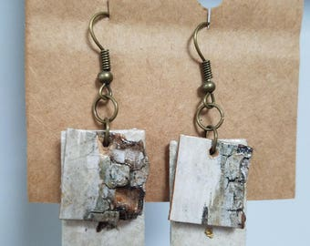 Handmade paper and birch earrings