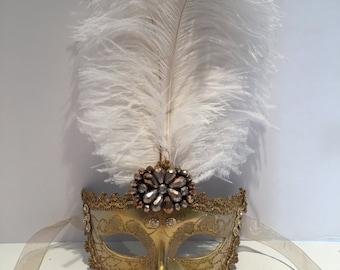 Gold Mask - Masquerade Mask- White and Gold feather Mask - Save Venice -Costume Party Mask- Masquerade Ball- Mardi Gras Mask -Masq