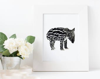 Baby Tapir Art Print, Watercolor Archival Print, home decor, animal art, children's room art, living room, contemporary art, minimalist art