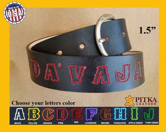 Western Style Belts - Men's Name Belts - Custom Handcrafted Leather Belts - Personalized Belts with standard colored outlined font - US made