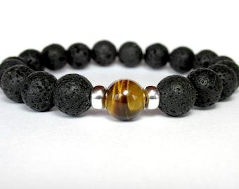 Black Lava and Tiger Eye Bracelet, Mens Beaded Bracelet, Mens Gift, Mens Jewelry, Boyfriend Gift, Gemstone Bracelet, Stretch Bracelet