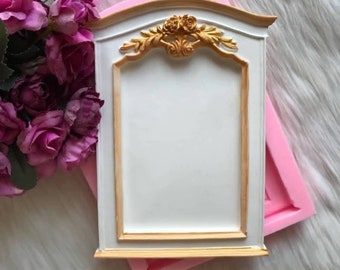 Frame 21cm Decor flowers Roses for picture Vintage polymer clay wax resin K123 SOAP plaster mirror silicone mold