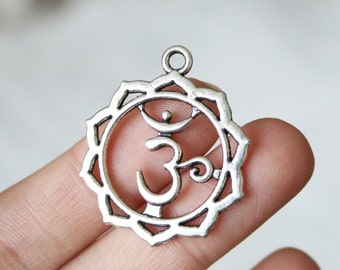 5 crown chakra charms, yoga charms, silver charms, buddhist charms, religious charms, antique silver, metal charms,