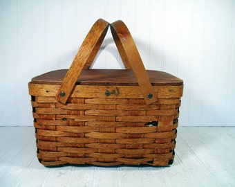 PieKeep Basket Picnic Hamper Rustic Wooden Woven Domino Brand Baked Goods Carrier - BoHo Shabby Primitive Wood Square Two Handled Basket Box