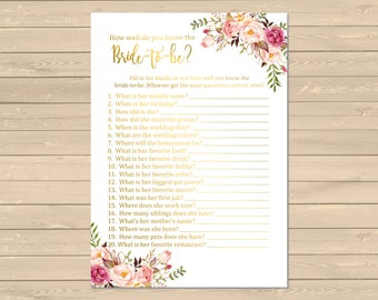 Gold Boho How Well do you Know the Bride to Be Game, Printable Pink Gold Floral Know the Bride Activity, Bohemian, Instant Download, 110-G