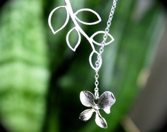 Orchid with Branch Necklace, Lariat Necklace, Orchid Lariat Necklace, Sterlng Silver, Bridesmaids gift, Wedding Jewelry, Everyday Jewelry