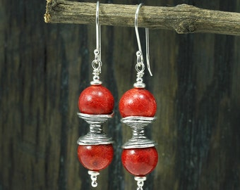 Coral Earrings, Hourglass Silver Decoration, 925 Sterling Silver, Dangle Earrings, Artisan Handmade,Stera Jewelry X280