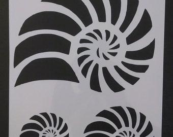 Nautilus Beach Seashell Sea Shells Custom Stencil FAST FREE SHIPPING
