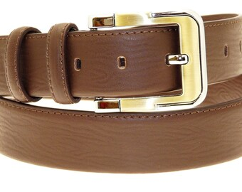 Men's Quality Brown Leather Belt In Gift Box (Style No.3012).