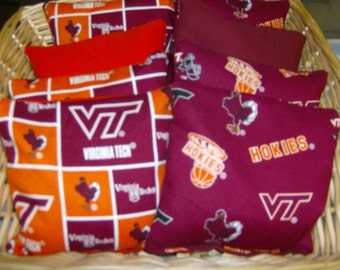Our 8 PC Set Of  Double Virginia Tech Game bags