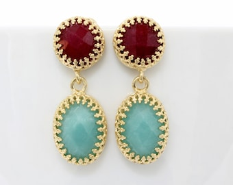ETSY BIRTHDAY SALE - gold ruby earrings,gold earrings,vintage earrings,dangle earrings,amazonite earrings,bridesmaid earrings