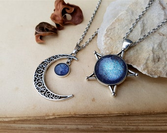 2 Star and Moon Necklaces, best friends jewelry, star moon necklaces, best friends gift idea, moon necklace, star necklace, Galaxy Necklace