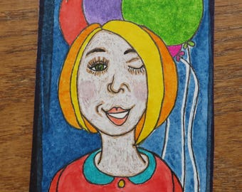 Balloon Girl ACEO Fun Whimsical Drawing Painting Original Art One of a Kind